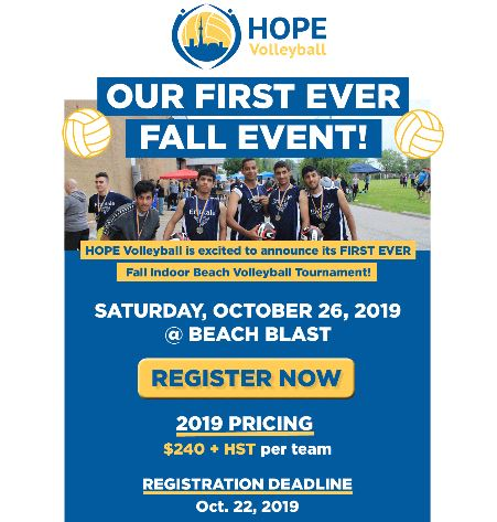 """NEW!  First Ever HOPE """"Fall"""" Indoor Vball Tournament"""